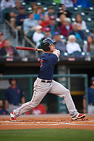 Pawtucket Red Sox third baseman Matt Dominguez (3) hits a single during a game against the Buffalo Bisons on August 31, 2017 at Coca-Cola Field in Buffalo, New York.  Buffalo defeated Pawtucket 4-2.  (Mike Janes/Four Seam Images)