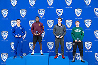 STANFORD, CA - March 7, 2020: Wyatt Gerl of Cal State Bakersfield, Jacori Teemer of Arizona State University, Tyler Eischens of Stanford, and Brawley Lamer of Cal Poly receive awards during the 2020 Pac-12 Wrestling Championships at Maples Pavilion.