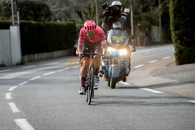 Jonas Rutsch (GER) EF Education-Nippo and Kenny Elissonde (FRA) Trek-Segafredo attack during Stage 6 of Paris-Nice 2021, running 202.5km from Brignoles to Biot, France. 12th March 2021.<br /> Picture: ASO/Fabien Boukla | Cyclefile<br /> <br /> All photos usage must carry mandatory copyright credit (© Cyclefile | ASO/Fabien Boukla)