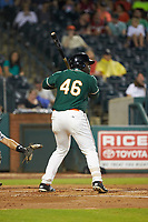 Lazaro Alonso (46) of the Greensboro Grasshoppers at bat against the West Virginia Power at First National Bank Field on June 1, 2018 in Greensboro, North Carolina. The Grasshoppers defeated the Power 10-3. (Brian Westerholt/Four Seam Images)