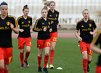 20180305 - LARNACA , CYPRUS :  Belgian Elena Dhont (14) pictured during warming up before a women's soccer game between  the Belgian Red Flames  and Austria , on Monday 5 March 2018 at the GSZ Stadium in Larnaca , Cyprus . This is the third game in group B for Belgium during the Cyprus Womens Cup , a prestigious women soccer tournament as a preparation on the World Cup 2019 qualification duels. PHOTO SPORTPIX.BE | DAVID CATRY