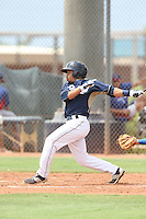 Tyler Moore (14) of the AZL Padres bats during a game against the AZL Rangers at the San Diego Padres Spring Training Complex on July 4, 2015 in Peoria, Arizona. Padres defeated the Rangers, 9-2. (Larry Goren/Four Seam Images)