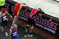09 SEP 2011 - CHESTER, GBR - Competitors recover after finishing the MBNA Chester Marathon (PHOTO (C) NIGEL FARROW)
