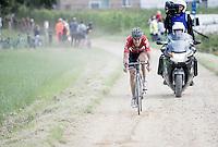 race leader Jelle Wallays (BEL/Lotto-Soudal) over the gravel<br /> <br /> 1st Dwars door het Hageland 2016<br /> (pics by Léon Van Bon)