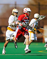 30 April 2011: Stony Brook Seawolves' defenseman JJ Laforet, a Sophomore from Georgetown, Ontario, in action against the University of Vermont Catamounts on Moulton Winder Field in Burlington, Vermont. The Catamounts fell to the visiting Seawolves 12-9 to conclude their America East season. Mandatory Credit: Ed Wolfstein Photo
