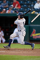 Corpus Christi Hooks catcher Garrett Stubbs (1) follows through on a swing during a game against the Springfield Cardinals on May 31, 2017 at Hammons Field in Springfield, Missouri.  Springfield defeated Corpus Christi 5-4.  (Mike Janes/Four Seam Images)