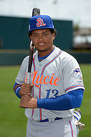 St. Lucie Mets third baseman Jhoan Urena (13) poses for a photo before a game against the Bradenton Marauders on April 12, 2015 at McKechnie Field in Bradenton, Florida.  Bradenton defeated St. Lucie 7-5.  (Mike Janes/Four Seam Images)