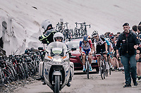 first group of chasers behind race leader Froome, consisting of: Tom Dumoulin (NED/Sunweb), Thibaut Pinot (FRA/Groupama-FDJ), Richard Carapaz (COL/Movistar) & Miguel Angel Lopez (COL/Astana) up the gravel roads of the Colle delle Finestre <br /> <br /> stage 19: Venaria Reale - Bardonecchia (184km)<br /> 101th Giro d'Italia 2018