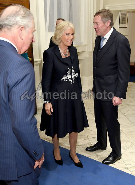 12 March 2018 - Camilla Duchess of Cornwall and Prince Charles Prince of Wales at the 2018 Commonwealth Day Reception at Marlborough House in London on Commonwealth Day. Photo Credit: ALPR/AdMedia