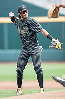 Vanderbilt Commodores third baseman Austin Martin (16) during Game 8 of the NCAA College World Series against the Mississippi State Bulldogs on June 19, 2019 at TD Ameritrade Park in Omaha, Nebraska. Vanderbilt defeated Mississippi State 6-3. (Andrew Woolley/Four Seam Images)
