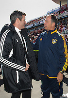 30 March 2013: Toronto FC head coach Ryan Nelsen greets LA Galaxy head coach Bruce Arena during the opening ceremonies in an MLS game between the LA Galaxy and Toronto FC at BMO Field in Toronto, Ontario Canada..The game ended in a 2-2 draw..