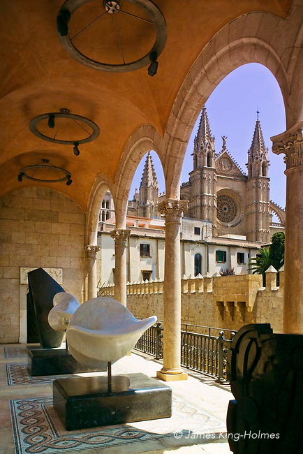 Sculpture by Henry Moore, Francisco Barón and Pietro Consagra on a covered terrace of the Palau March (March Palace) museum, where the March Foundation's collection of modern sculpture can be seen. The Palace is close to the 12th century La Seu cathedral.