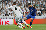 Real Madrid´s Sergio Ramos (L) and Juventus´s Alvaro Morata during the Champions League semi final soccer match between Real Madrid and Juventus at Santiago Bernabeu stadium in Madrid, Spain. May 13, 2015. (ALTERPHOTOS/Victor Blanco)