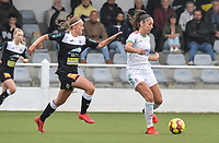 Amber Tysiak (3) of OH Leuven and Rebecca Degenaers (38) of Eendracht Aalst pictured during a female soccer game between Oud Heverlee Leuven and Eendracht Aalst on the second matchday of the 2021 - 2022 season of Belgian Womens Super League , sunday 29 nd of August 2021  in Heverlee , Belgium . PHOTO SPORTPIX.BE   JILL DELSAUX