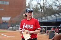GREENSBORO, NC - MARCH 11: Head coach Christina Sutcliffe of Northern Illinois University during a game between Northern Illinois and UNC Greensboro at UNCG Softball Stadium on March 11, 2020 in Greensboro, North Carolina.