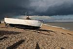 Fishing boat before a rain storm, Dunwich Suffolk England 2006.