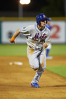 Jarred Kelenic (20) of the Kingsport Mets takes off for third base against the Burlington Royals at Burlington Athletic Stadium on July 27, 2018 in Burlington, North Carolina. The Mets defeated the Royals 8-0.  (Brian Westerholt/Four Seam Images)