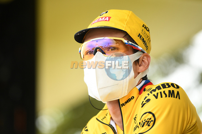 Primoz Roglic (SLO) Team Jumbo-Visma at sign on before the start of Stage 9 of Tour de France 2020, running 153km from Pau to Laruns, France. 6th September 2020. <br /> Picture: ASO/Alex Broadway | Cyclefile<br /> All photos usage must carry mandatory copyright credit (© Cyclefile | ASO/Alex Broadway)