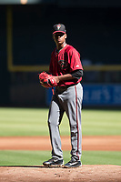 Arizona Diamondbacks relief pitcher Elvis Luciano (32) prepares to deliver a pitch to the plate during an Instructional League game against the Kansas City Royals at Chase Field on October 14, 2017 in Phoenix, Arizona. (Zachary Lucy/Four Seam Images)
