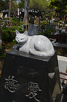 Individual graves for lost loved pets. Gravestones are designed with thoughts.<br /> <br /> Jikeiin is the biggest pet graveyard in western suburb of Tokyo.  This has founded in 1921 and 13000m2 land space.  They have 16 cremation machine which can cremate from small animal like turtle or birds to big animals like tigers and bears.  They provide buddism style funeral ceremony and graves to pet owners who have lost their loved pets.  Jikeiin is the non-sectarian temple.