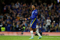 22nd September 2021; Stamford Bridge, Chelsea, London, England; EFL Cup football, Chelsea versus Aston Villa; Reece James of Chelsea celebrates after scoring the winning penalty during the penalty shootout to beat Aston Villa
