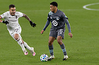 ST PAUL, MN - OCTOBER 28: Jacori Hayes #5 of Minnesota United FC controls the ball during a game between Colorado Rapids and Minnesota United FC at Allianz Field on October 28, 2020 in St Paul, Minnesota.