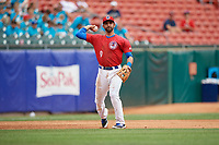 Buffalo Bisons third baseman Jason Leblebijian (9) throws to first base during a game against the Indianapolis Indians on August 17, 2017 at Coca-Cola Field in Buffalo, New York.  Buffalo defeated Indianapolis 4-1.  (Mike Janes/Four Seam Images)