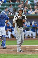 Jonathan Piron (2) of the Grand Junction Rockies at bat against the Ogden Raptors in Pioneer League action at Lindquist Field on August 26, 2016 in Ogden, Utah. The Raptors defeated the Rockies 6-5. (Stephen Smith/Four Seam Images)