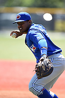 Toronto Blue Jays Juan Kelly (17) during practice before a minor league spring training game against the Pittsburgh Pirates on March 21, 2015 at Pirate City in Bradenton, Florida.  (Mike Janes/Four Seam Images)
