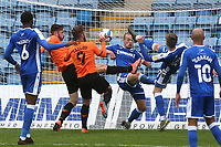 Josh Eccles of Gillingham kicks the ball away to thwart another Oxford attack during Gillingham vs Oxford United, Sky Bet EFL League 1 Football at the MEMS Priestfield Stadium on 10th October 2020
