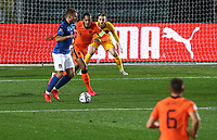Italy's Ciro Immobile, left, is challenged by Netherlands' Virgil van Dijk during the UEFA Nations League football match between Italy and Netherlands at Bergamo's Atleti Azzurri d'Italia stadium, October 14, 2020.<br /> UPDATE IMAGES PRESS/Isabella Bonotto