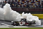NASCAR Camping World Truck Series<br /> North Carolina Education Lottery 200<br /> Charlotte Motor Speedway, Concord, NC USA<br /> Friday 19 May 2017<br /> Kyle Busch, Cessna Toyota Tundra celebrates his win with a burnout<br /> World Copyright: Nigel Kinrade<br /> LAT Images<br /> ref: Digital Image 17CLT1nk05309