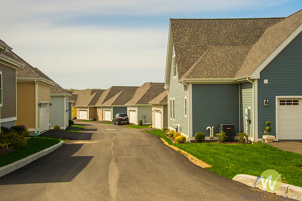 Fieldstone Village. Grassy Hill Road, Orange, CT. Planned community. Editorial american landscape of cookie cutter homes. Active adult community.