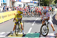 2nd September 2020; Gap to Provas, France. Tour de France cycling tour, stage 5;  Deceuninck - Quick Step 2020, Ag2r La Mondiale Alaphilippe, Julian Cosnefroy, Benoit on the start line in Gap
