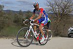 The peloton including Matthieu Ladagnous (FRA) Groupama-FDJ climb sector 8 Monte Santa Maria during Strade Bianche 2019 running 184km from Siena to Siena, held over the white gravel roads of Tuscany, Italy. 9th March 2019.<br /> Picture: Seamus Yore   Cyclefile<br /> <br /> <br /> All photos usage must carry mandatory copyright credit (© Cyclefile   Seamus Yore)