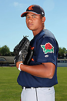 Connecticut Tigers pitcher Michael Torrealba (46) before a double header vs. the Batavia Muckdogs at Dwyer Stadium in Batavia, New York July 10, 2010.  Connecticut dropped the first game 3-5 then defeated Batavia 8-1 in the night cap.  Photo By Mike Janes/Four Seam Images