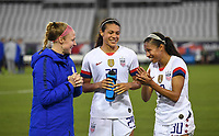 JACKSONVILLE, FL - NOVEMBER 10: Becky Sauerbrunn #4, Alana Cook #29 and Margaret Purce #30 of the United States celebrate during a game between Costa Rica and USWNT at TIAA Bank Field on November 10, 2019 in Jacksonville, Florida.