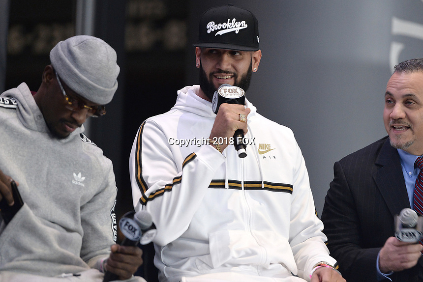 BROOKLYN, NY - DECEMBER 20: (L-R) Boxers Tony Harrison and Carlos Negron on stage during the Fox Sports and Premier Boxing Champions press conference for the December 22 Fox PBC Fight Night at the Barclay Center on December 20, 2018 in Brooklyn, New York. (Photo by Anthony Behar/Fox Sports/PictureGroup)
