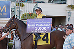 Javier Castellano on Virtuously(4) comes from behind in the 6th race at Gulfstream Park for his 3000th career win. Hallandale Beach, Florida. 02-24-2012