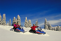 Friends (MR) snowmobiling on the Continental Divide, Summit County, CO. Summit County, Colorado.