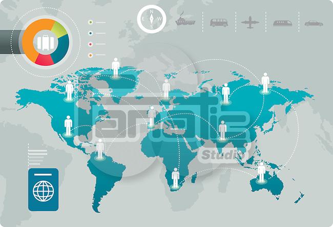 Illustrative image of human representations on map representing globetrotter