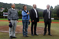 17 July 2011: Yoshio Yoshida, Valeri Fourneyron, Didier Seminet, and Xavier Rolland are seen during the National Anthem, prior to the 2011Challenge de France final match won 6-4 by the Rouen Huskies over the Savigny Lions, at Stade Pierre Rolland, in Rouen, France.