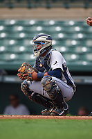 GCL Rays catcher Rafelin Lorenzo (8) during the first game of a doubleheader against the GCL Orioles on August 1, 2015 at the Ed Smith Stadium in Sarasota, Florida.  GCL Orioles defeated the GCL Rays 2-0.  (Mike Janes/Four Seam Images)