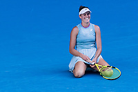 18th February 2021, Melbourne, Victoria, Australia; Jennifer Brady of the United States of America shows her frustration after losing a game during the semifinals of the 2021 Australian Open on February 18 2021, at Melbourne Park in Melbourne, Australia.