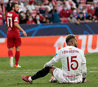14th September 2021; Sevilla, Spain: UEFA Champions League football,  Sevilla FC versus RB Salzburg;  En-Nesyri of Sevilla looks for a foul while on the pitch