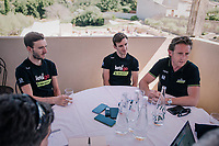 Simon Yates (GBR/Mitchelton-Scott) & a less shaved Adam Yates (GBR/Mitchelton-Scott) confirming their prolongued stay with Team Mitchelton-Scott for another 2 years on the second restday of the Tour<br /> <br /> 105th Tour de France 2018<br /> ©kramon