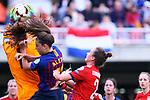 UEFA Women's Champions League 2018/2019.<br /> Semi Finals<br /> FC Barcelona vs FC Bayern Munchen: 1-0.<br /> Laura Benkarth, Alexia Putellas & Gina Lewandowski.