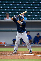 AZL Brewers catcher Robie Rojas (14) on defense during a game against the AZL Cubs on August 1, 2017 at Sloan Park in Mesa, Arizona. Brewers defeated the Cubs 5-4. (Zachary Lucy/Four Seam Images)