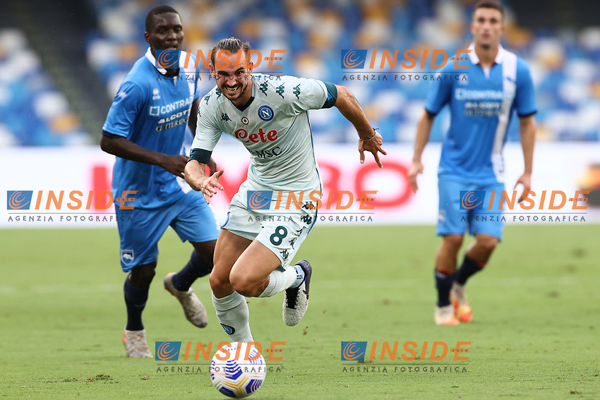 Fabian Ruiz of SSC Napoli compete for the ball<br /> during the friendly football match between SSC Napoli and Pescara Calcio 1936 at stadio San Paolo in Napoli, Italy, September 11, 2020. <br /> Photo Cesare Purini / Insidefoto