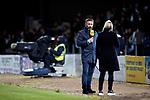 Dundee v St Johnstone…22.09.21  Dens Park.    Premier Sports Cup<br />Derek McInnes pictured on the touchline commentating for Premier Sports TV<br />Picture by Graeme Hart.<br />Copyright Perthshire Picture Agency<br />Tel: 01738 623350  Mobile: 07990 594431